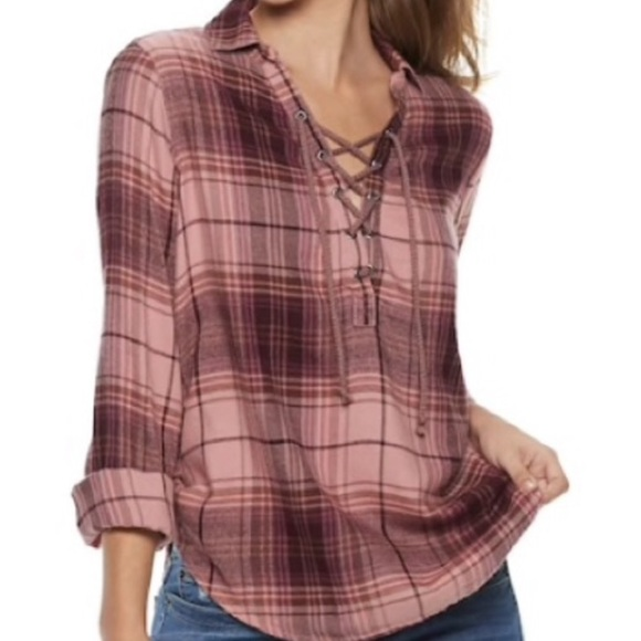 Mudd Tops - Mudd Lace Up Flannel Shirt Plaid Cotton Rayon NWT